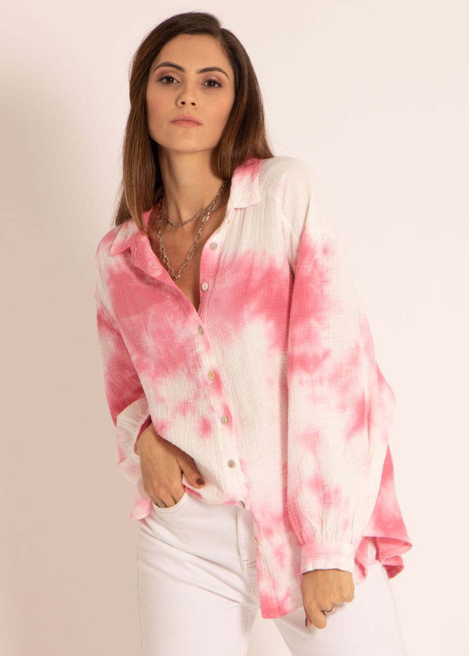 Ultra oversize Batik Blusenhemd, kürzere Variante, pink