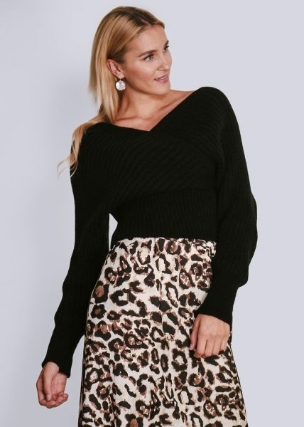 Pullover mit Wickel-Optik, schwarz