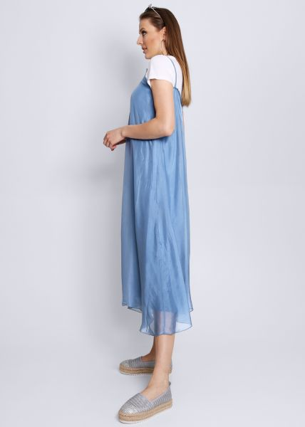 Slip-Dress aus Seide, blau