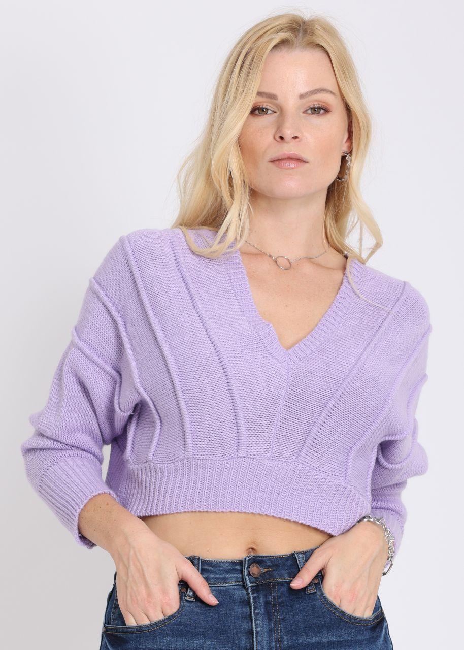 Crop-Pullover mit weitem Aussschnitt, flieder