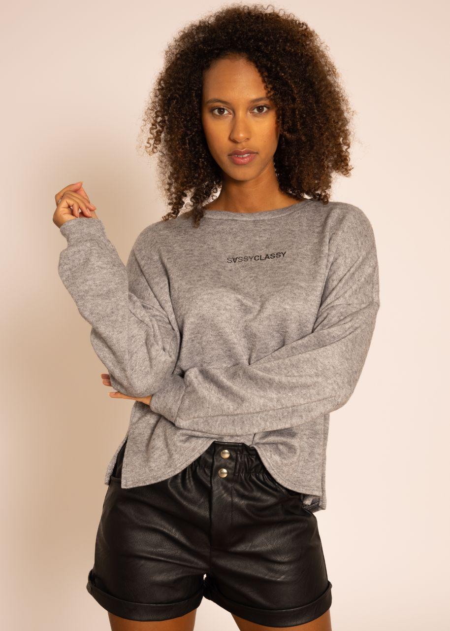 Ultra weiches Sweatshirt mit Logo-Print, grau