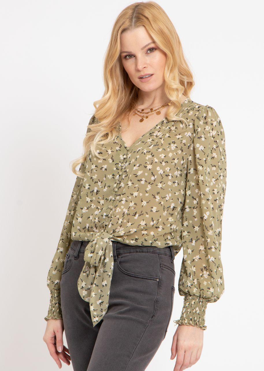 Bluse mit Blumen-Print, und gold Druck, khaki