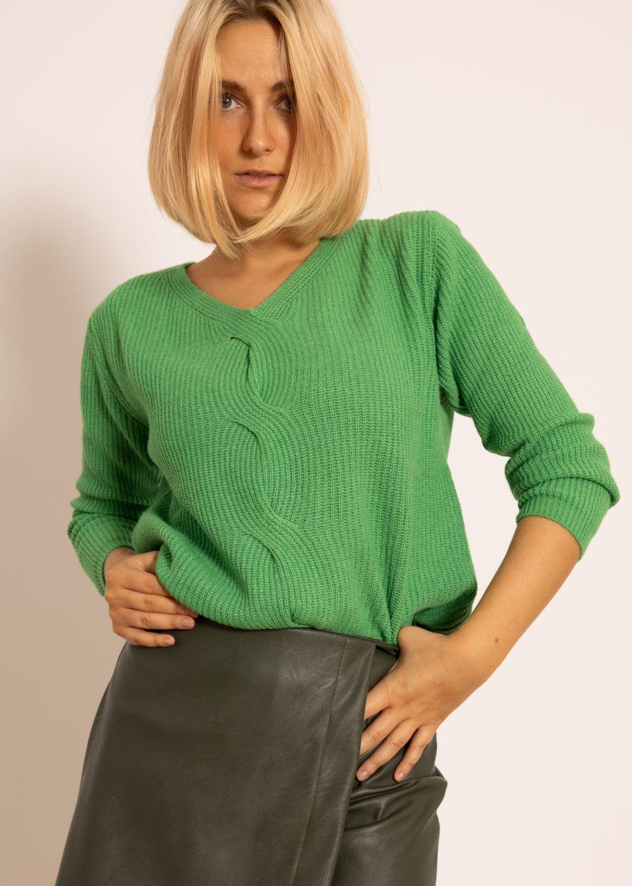 Pullover mit Zopfmuster, grün