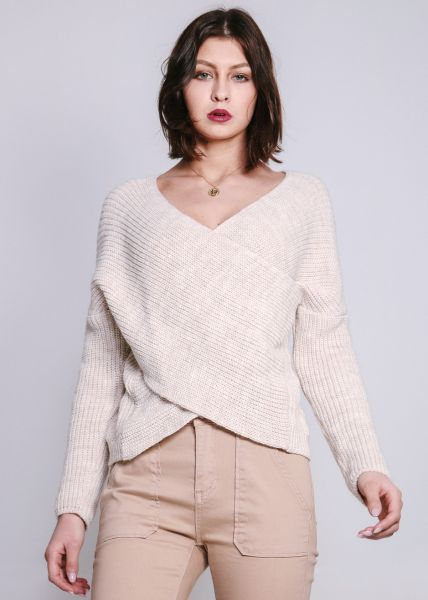 Pullover in Wickel-Optik, beige