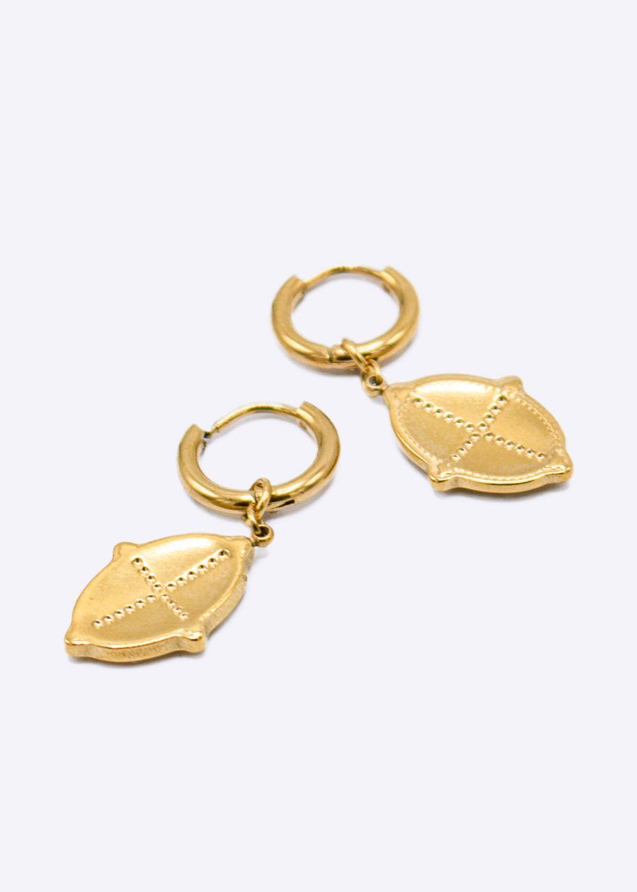 Mini-Creolen mit ovalem Anhänger, gold