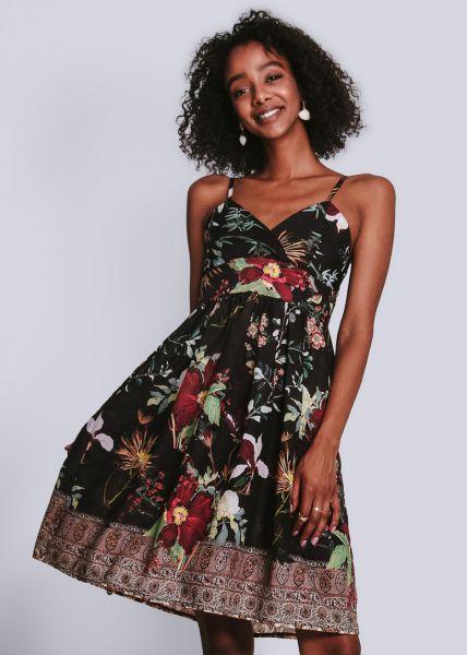 Trägerkleid mit Blumen-Print, schwarz