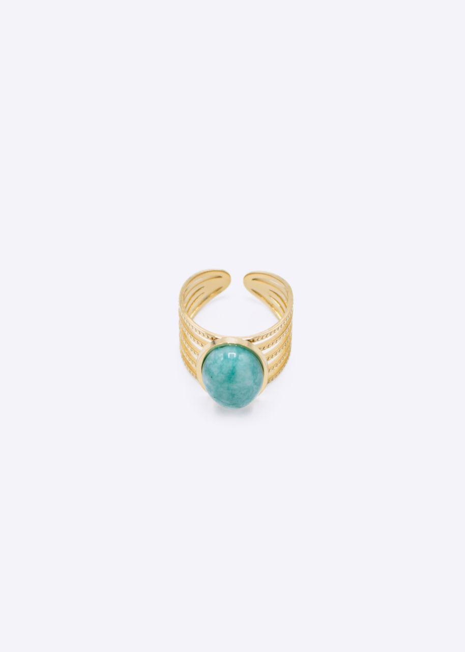 Ring mit Amazonit Stein, gold