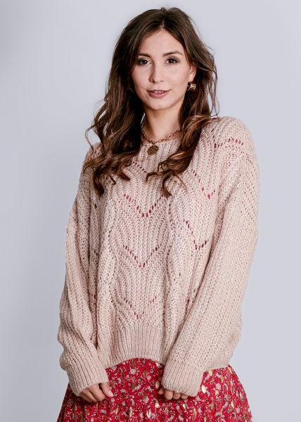 Luftig gestrickter Pullover, beige