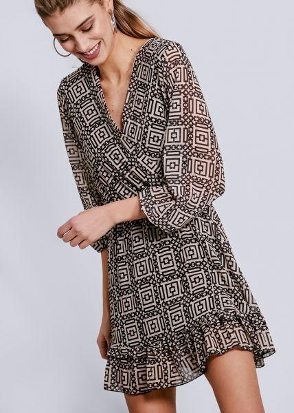 Kleid mit Wickel-Optik und Volants, schwarz/offwhite