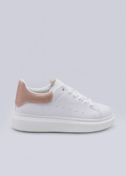 Sneaker mit rosa Glitzer-Ferse, weiß