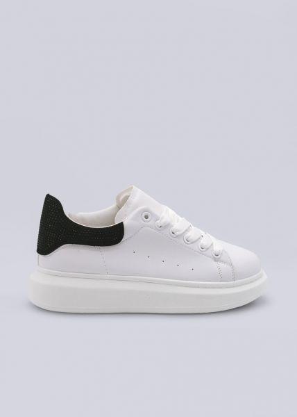 Sneaker mit schwarzer Glitzer-Ferse, weiß