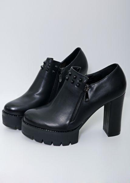 Ankle-Heels mit Nieten, schwarz
