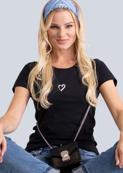T-Shirt mit Herz, schwarz