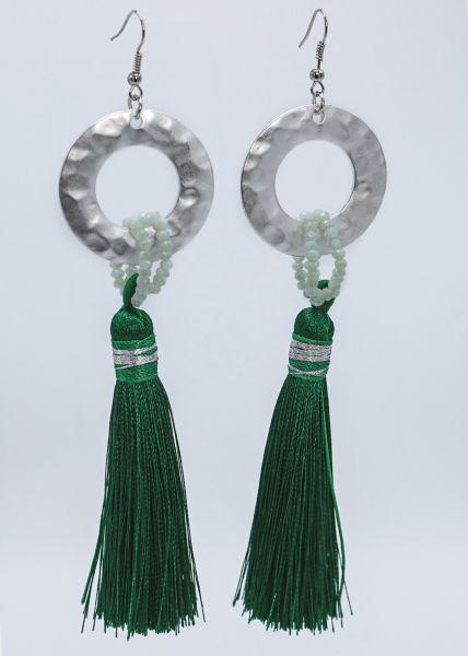 Ohrhänger mit Quasten, grün