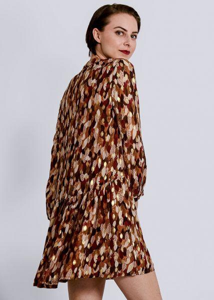Hängerchenkleid mit Blätter-Print und gold Druck, braun