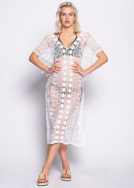 Maxi-Strandkleid aus Spitze, weiß