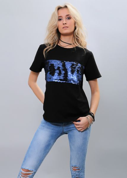 T-Shirt mit Pailletten, schwarz