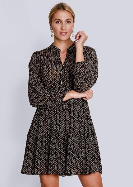 Feminines Kleid mit graphischem Print, schwarz/camel