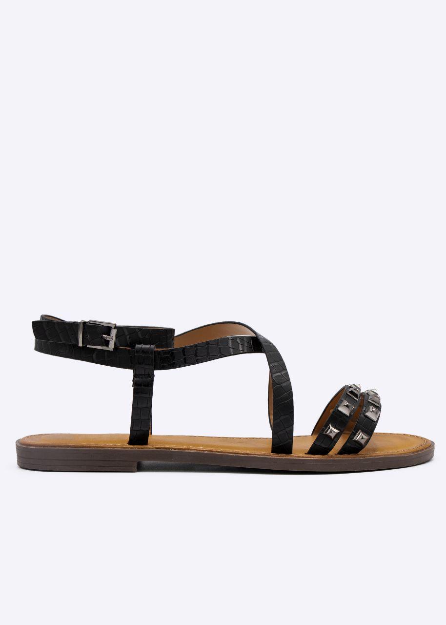 Sandalen mit Nieten, schwarz