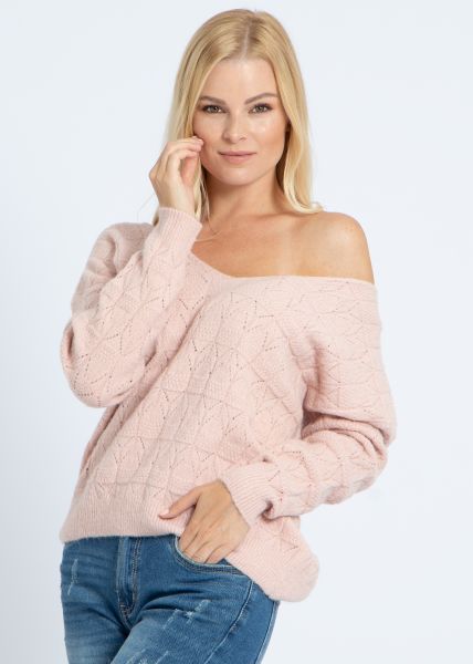 Pullover mit Muster, rosa