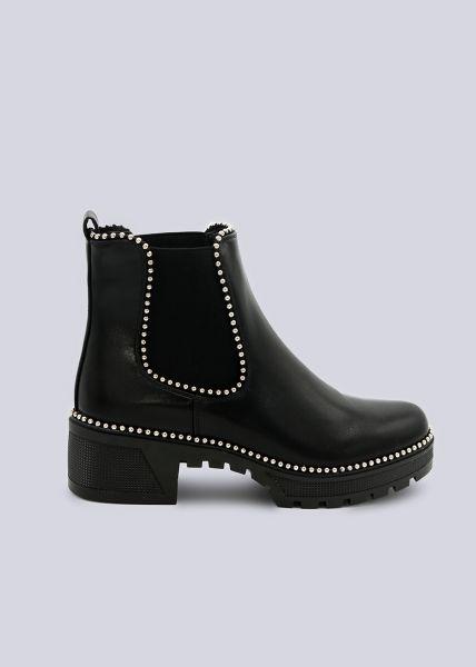 Plateau-Boots mit kleinen Kugelperlen, schwarz