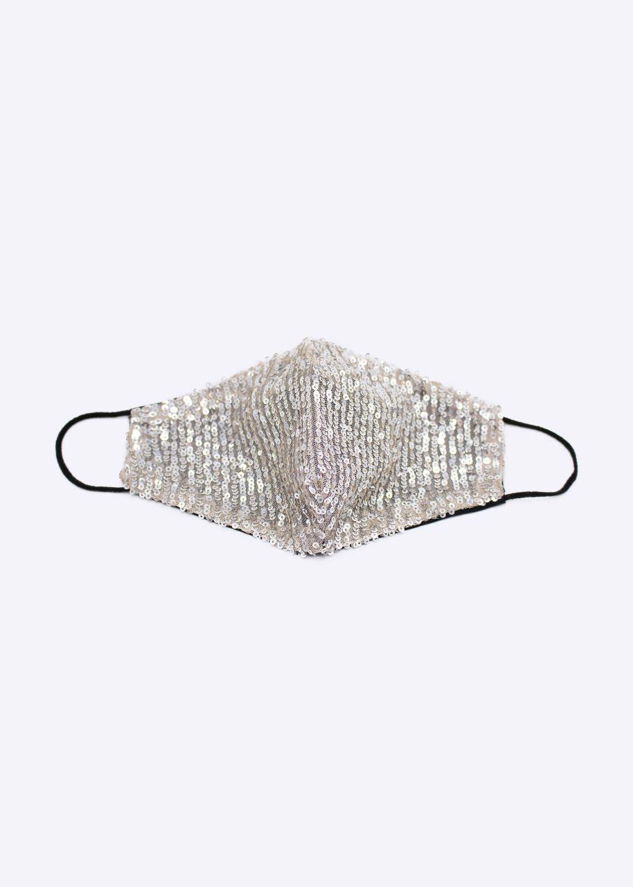 Stoffmaske mit Pailletten, taupe