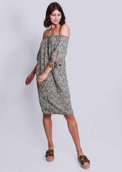 Schulterfreies Hängerchenkleid mit Print, khaki