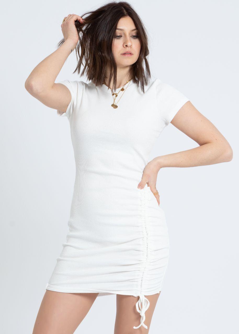 Shirtkleid mit Raffung, weiß