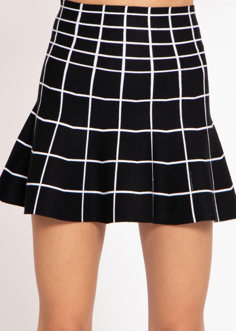 Strickrock mit Karo-Muster, schwarz