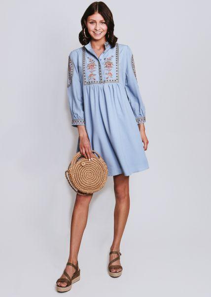 Hängerchen-Kleid mit Stickerei, hellblau