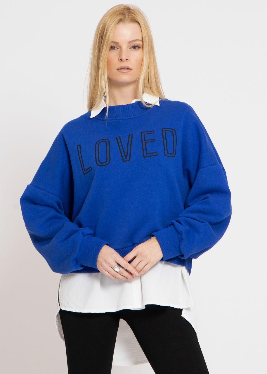 """Cosy Oversize Sweatshirt """"LOVED"""", royalblau"""