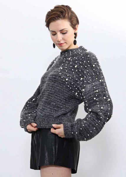 Softer Pullover mit Perlen, grau