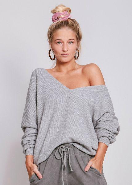 Lässiger Pullover mit V-Ausschnitt, grau