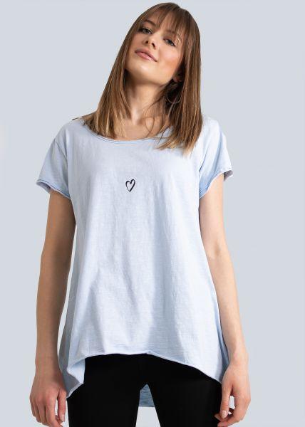 Oversize T-Shirt mit Herz, blau