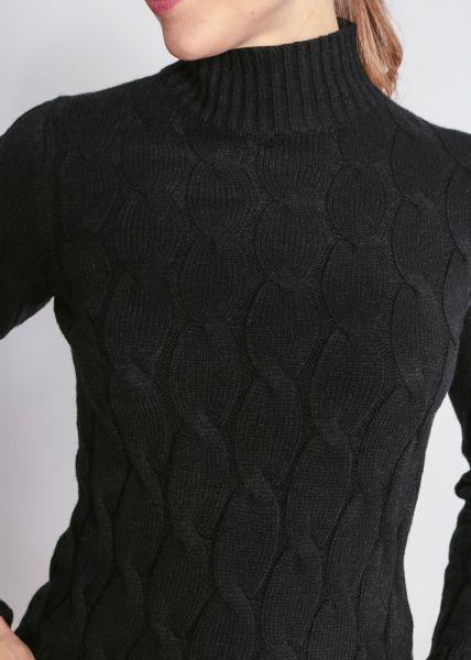 Super weicher Zopf-Pullover, schwarz
