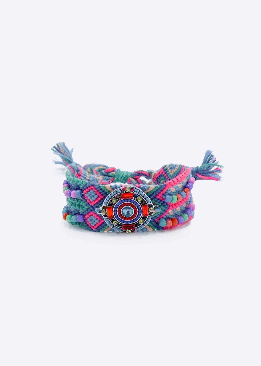 Boho Armband, türkis/pink