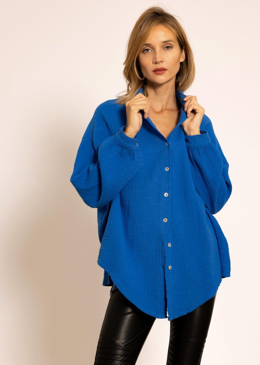 Ultra oversize Blusenhemd, kürzere Variante, royalblau