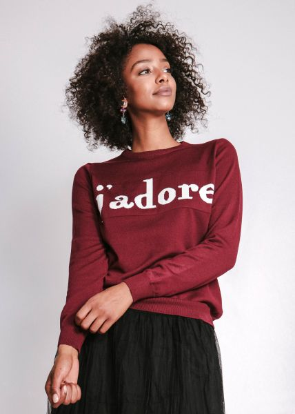 """Pullover """"J`adore"""", weinrot"""