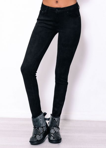 Skinny Jeans in Wildleder-Optik, schwarz