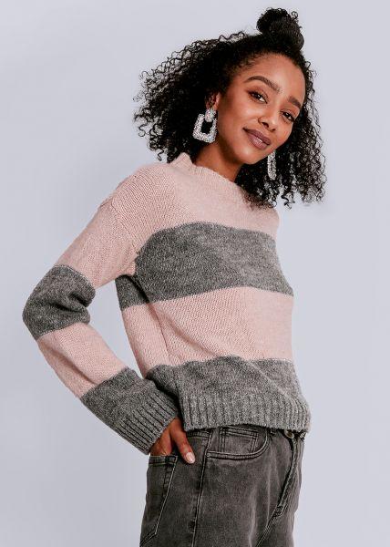 Streifen-Pullover, rosa/grau