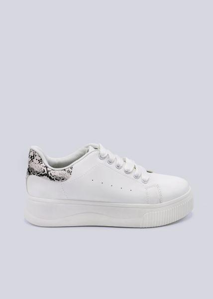 Plateau-Sneaker mit grauer Snake-Ferse, weiß