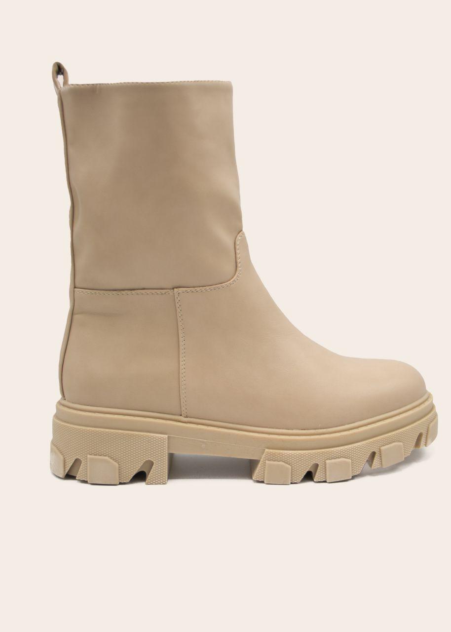 Plateau Boots mit grober Sohle, beige