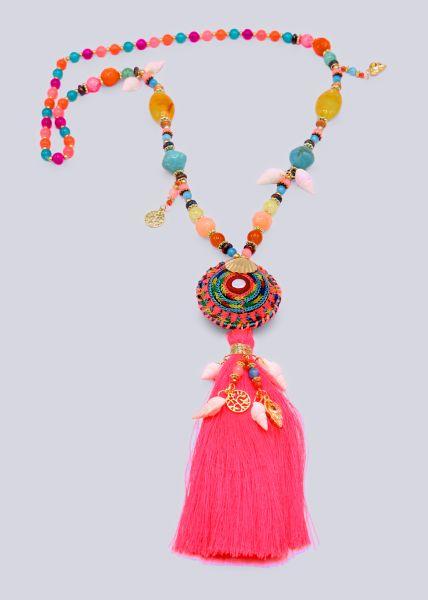 Bunte Perlenkette mit Muscheln und langer Quaste, pink