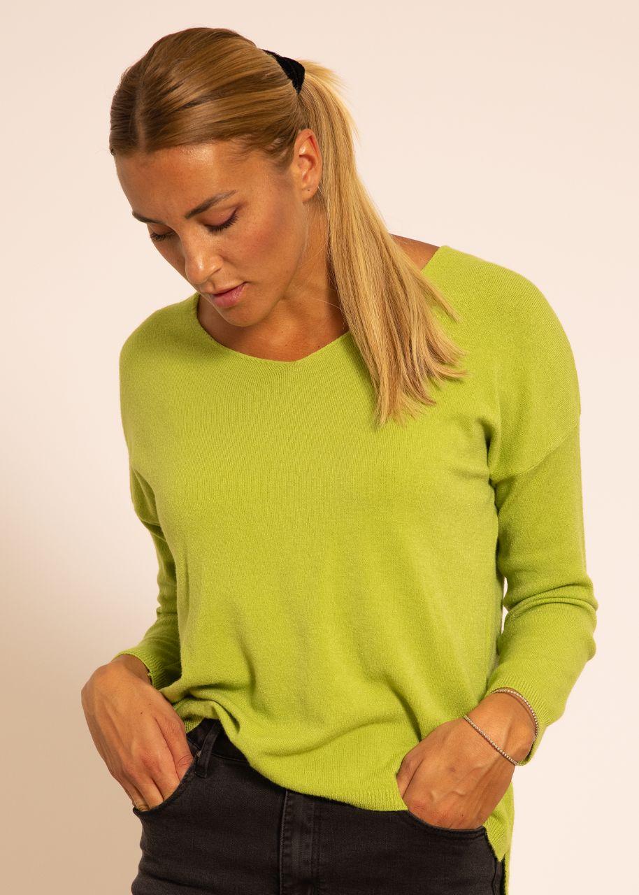 Oversize Pullover mit V-Ausschnitt, grün