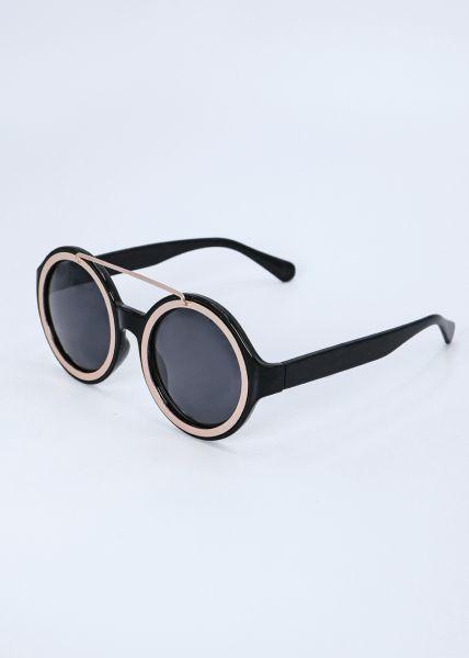 Runde Sonnenbrille, schwarz / gold