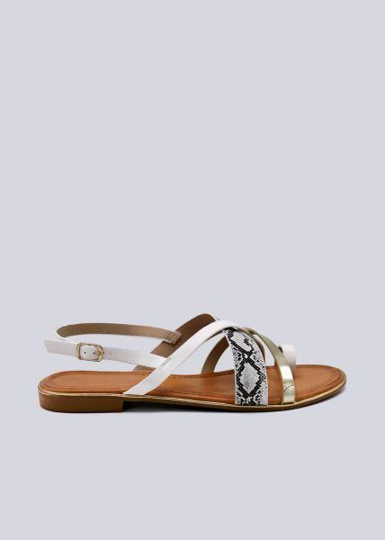 Sandalen mit Snake-Print, weiß