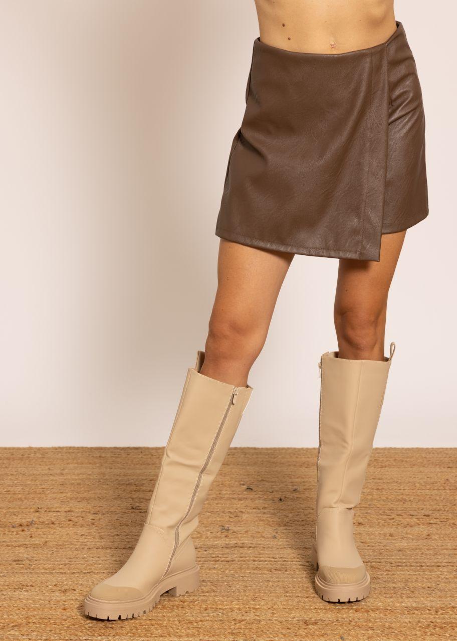 Leder-Shorts mit Überschlag, braun