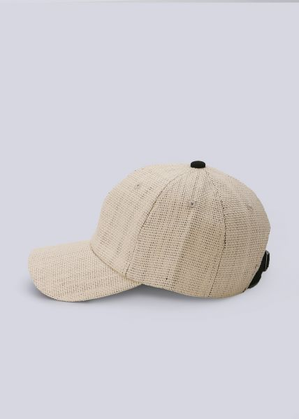 Baseballkappe in Stroh-Optik, beige