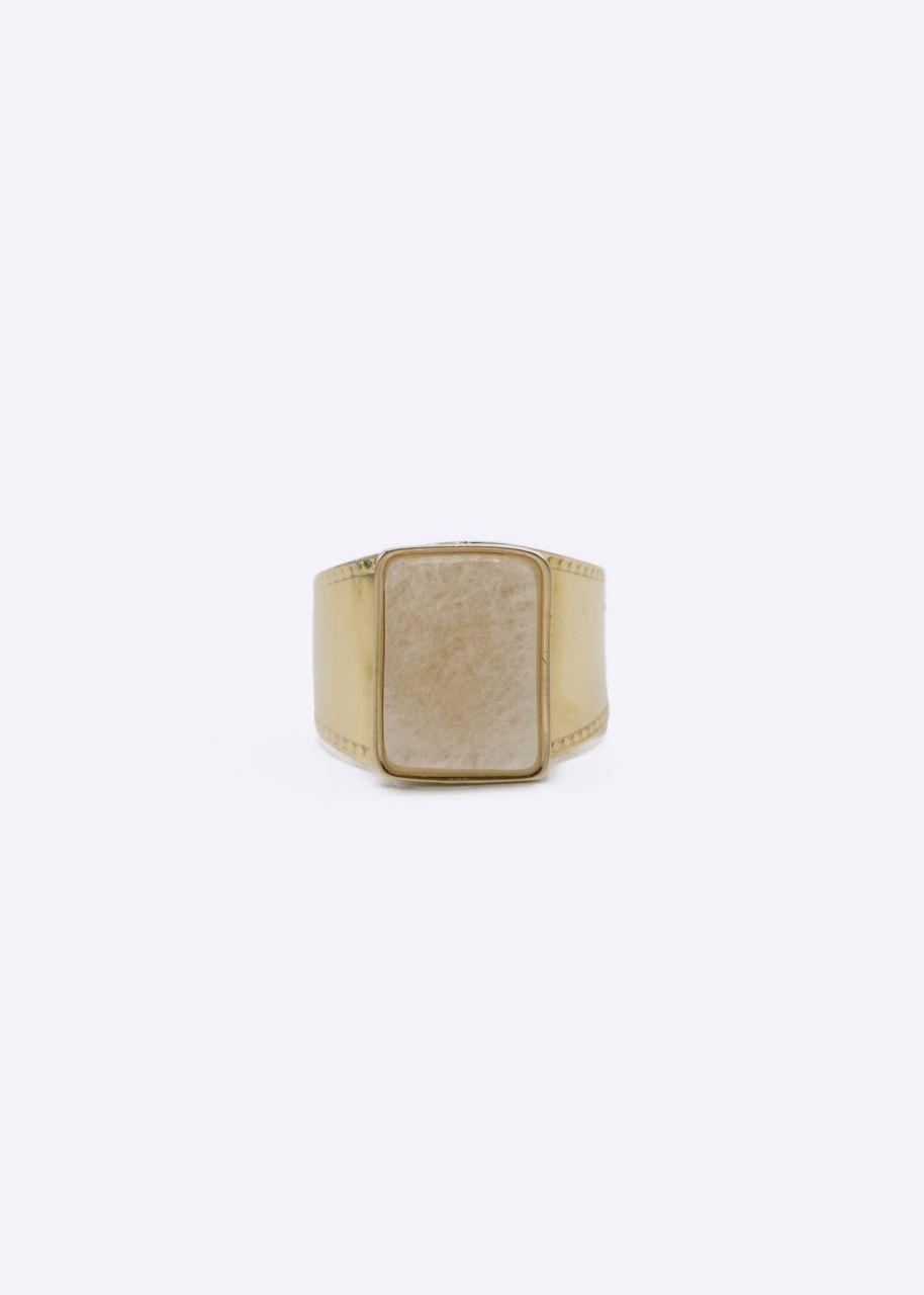 Ring mit weißem Jade Stein, gold