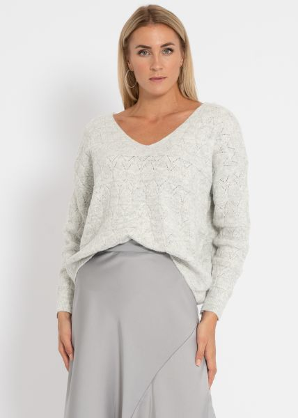 Pullover mit Muster, hellgrau